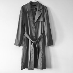 Love Token Gray Midi Tie Waist Trench Coat